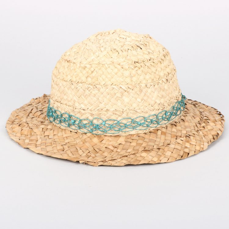 Blue trim raffia hat   TradeAid