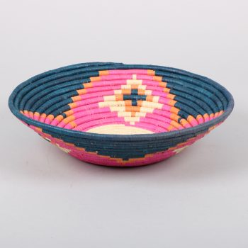 Pink and navy woven bowl | TradeAid