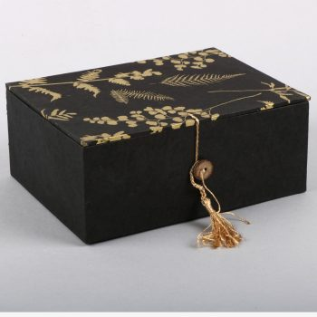 Black and gold fern box with tassel | TradeAid