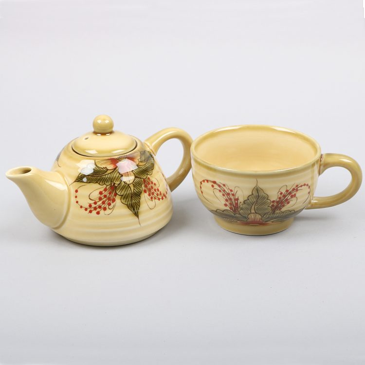 Green and red floral teapot with mug | Gallery 1 | TradeAid