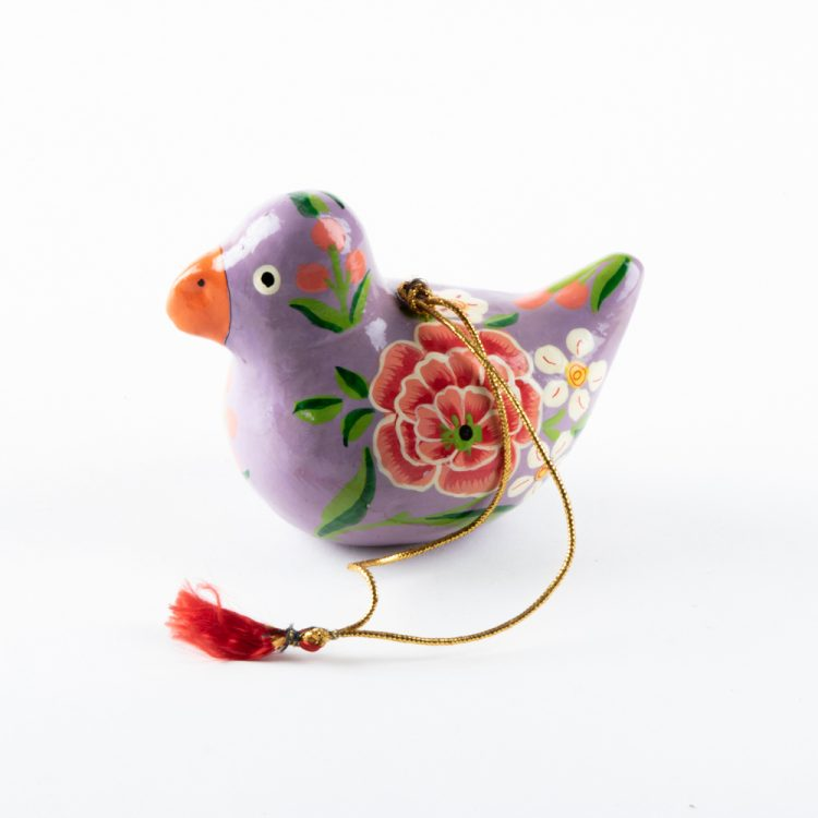 Purple floral bird hanging | TradeAid