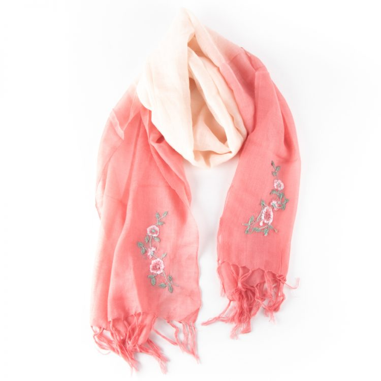 Pink embroidered wool scarf | TradeAid