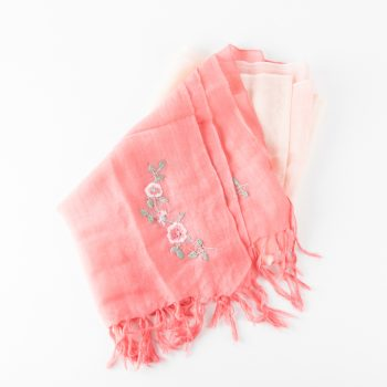 Pink embroidered wool scarf | Gallery 1 | TradeAid