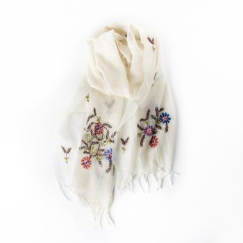 White embroidered scarf | TradeAid