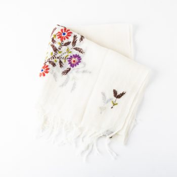 White embroidered scarf | Gallery 2 | TradeAid