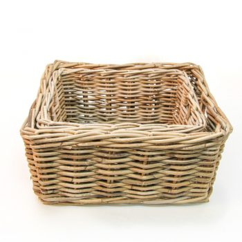 Rectangular rattan baskets (set of two) | TradeAid