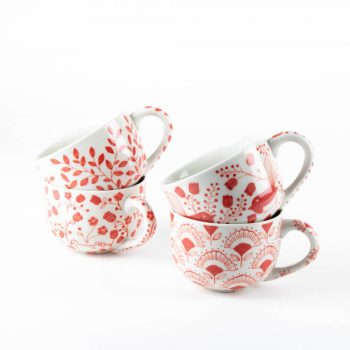 Red floral latte cup | TradeAid