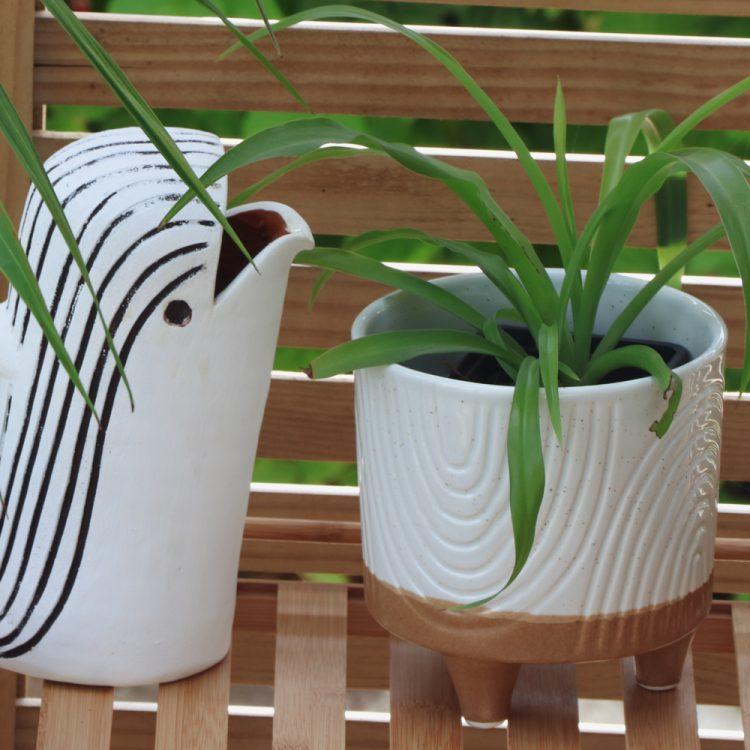 White foot ceramic planter   TradeAid