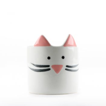Mini cat planter white | TradeAid