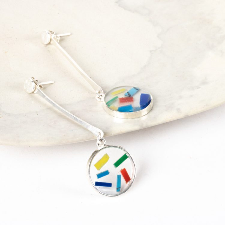 Resin disc drop earrings | TradeAid