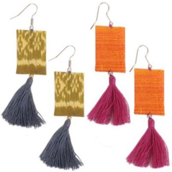 Shibori silk earrings | TradeAid