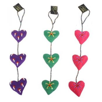 Silk heart hanging with bead | TradeAid