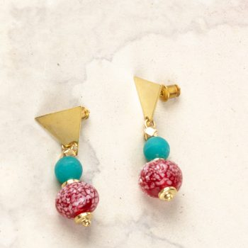Metal red bead earring | TradeAid