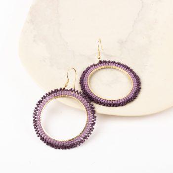 Violet bead earrings   Gallery 1   TradeAid