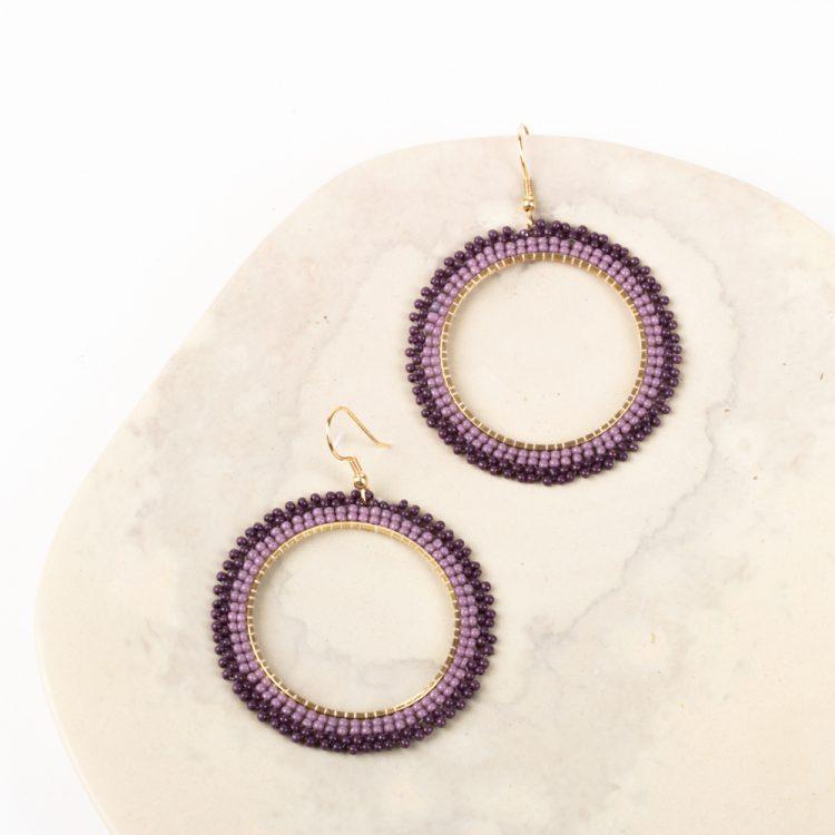 Violet bead earrings   TradeAid