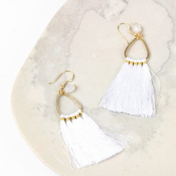White tassel earrings | TradeAid
