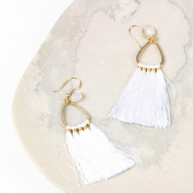 White tassel earrings | TradeAid