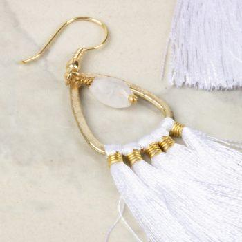 White tassel earrings | Gallery 1 | TradeAid
