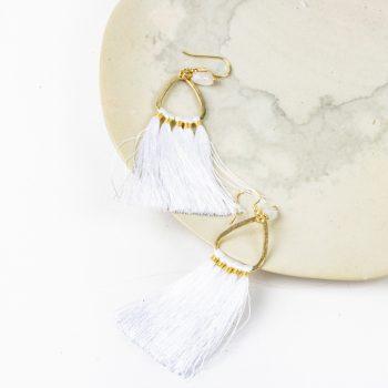 White tassel earrings | Gallery 2 | TradeAid