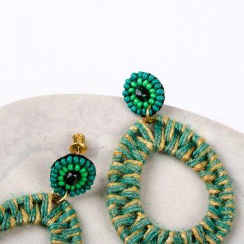Green jute earring | Gallery 2 | TradeAid