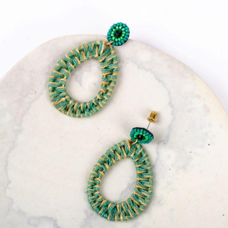 Green jute earring | Gallery 1 | TradeAid