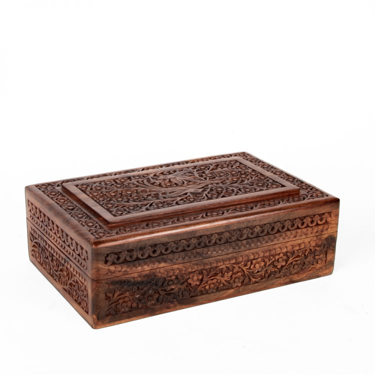 Parrot and floral sheesham wood box | TradeAid