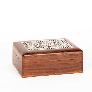White block print sheesham box | TradeAid