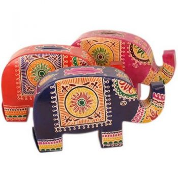 Leather elephant money box | TradeAid
