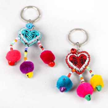 Heart and pompom keyring | TradeAid