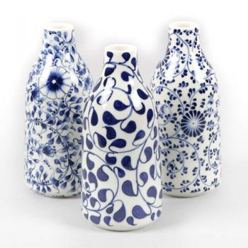 Blue and white floral vase | TradeAid