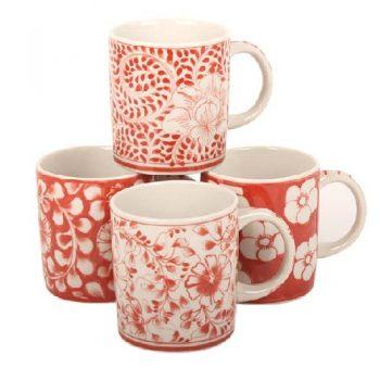 Red floral coffee mug | TradeAid