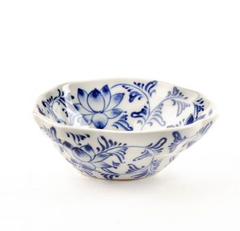 White bowl with blue lotus | TradeAid