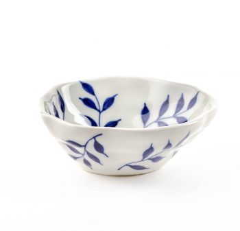 White bowl with blue leaves | TradeAid