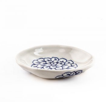 White dish with big blue flower | TradeAid