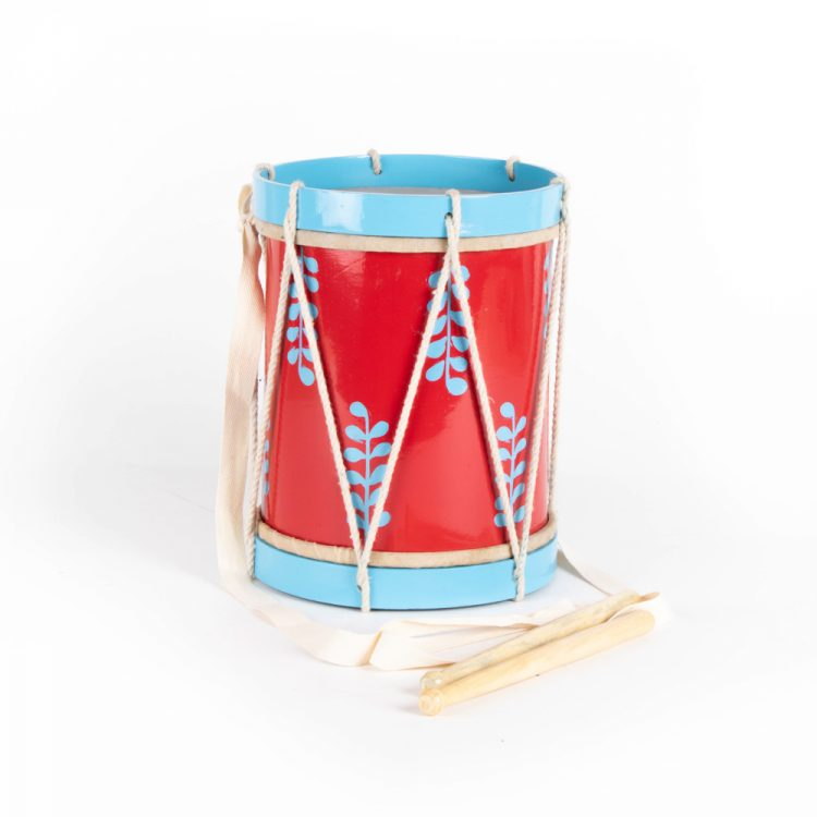 Red and blue drum with strap   TradeAid