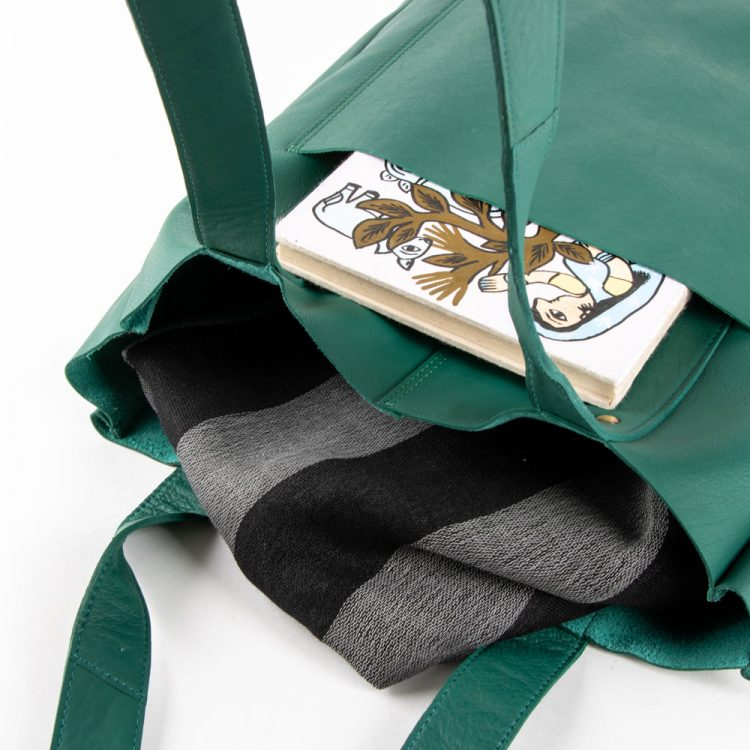 Sea green leather tote | Gallery 1 | TradeAid
