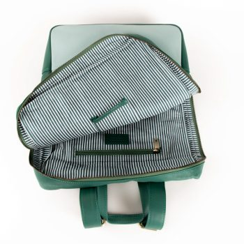 Sea green leather backpack   Gallery 1   TradeAid