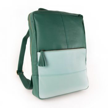 Sea green leather backpack | TradeAid