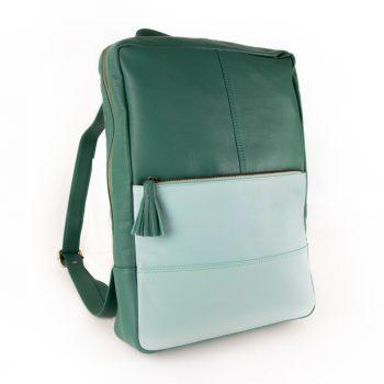 Sea green leather backpack   TradeAid