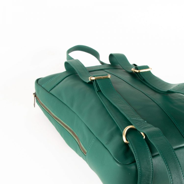 Sea green leather backpack   Gallery 2   TradeAid