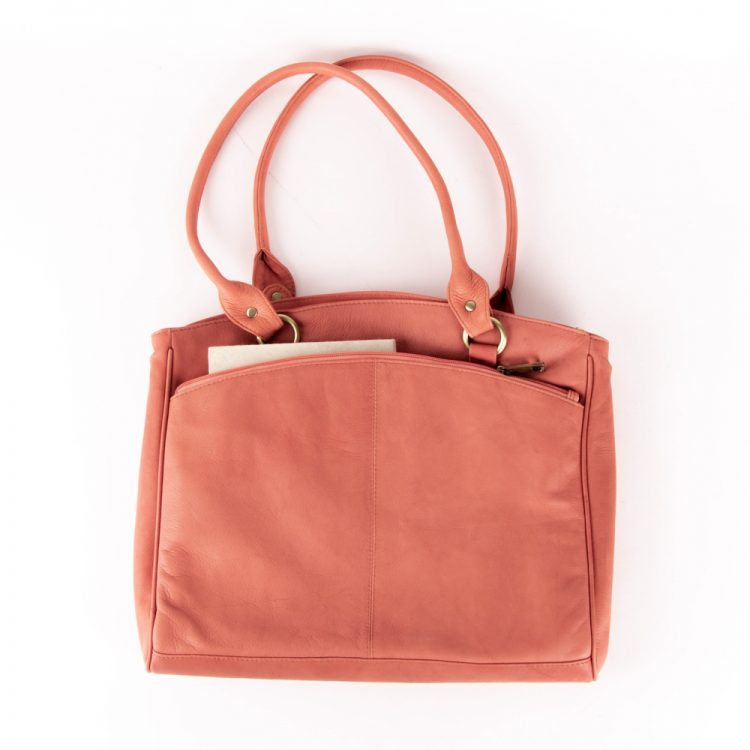 Rose coral leather shoulder bag | Gallery 1 | TradeAid