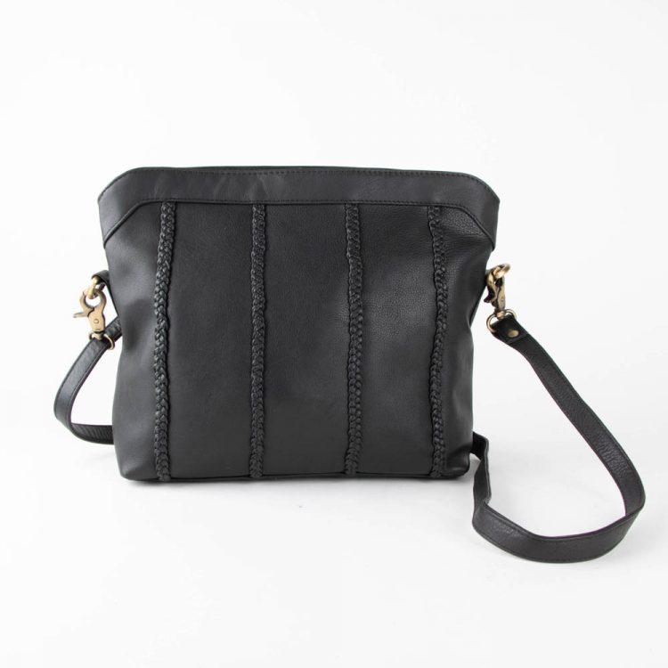 Black leather shoulder bag | TradeAid