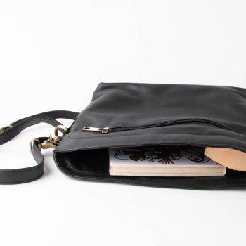 Black leather shoulder bag | Gallery 1 | TradeAid