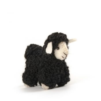 Black felt sheep hanging | TradeAid