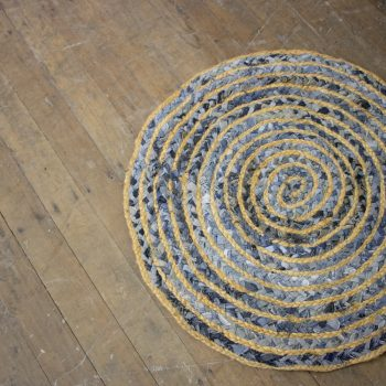 Small round denim rug | TradeAid