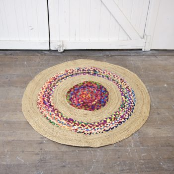 Round fabric and jute rug | TradeAid