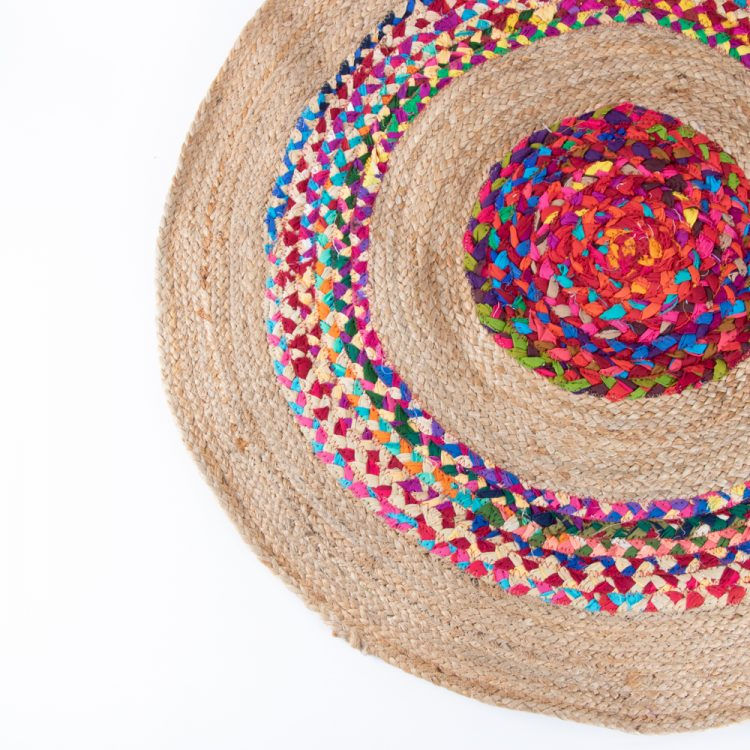 Round fabric and jute rug | Gallery 1 | TradeAid