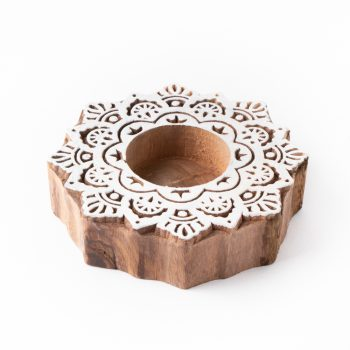 White wood tealight holder | TradeAid
