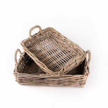 Grey rattan tray baskets | TradeAid