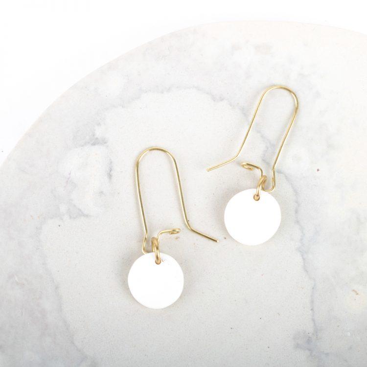 White disc earrings   TradeAid